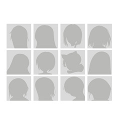 big set anime faces with hair flat gray vector image