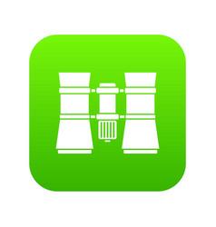 binoculars icon digital green vector image
