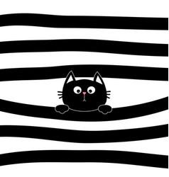 Black cat kitten face head holding line vector