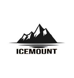 black ice mountain logo design vector image