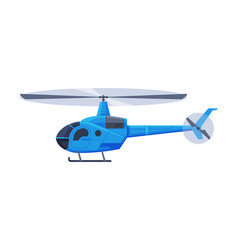 Blue helicopter aircraft flying chopper air vector