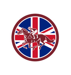 British jockey horse racing union jack flag vector