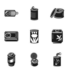 Canned food icon set simple style vector