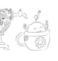 Cartoon monster tea cup samovar coloring book vector