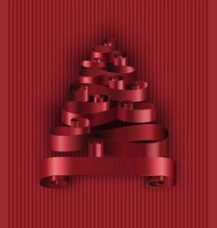 christmas tree made of ribbons decoration stripes vector image