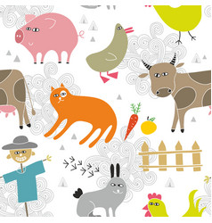 creative seamless background with farm animals in vector image