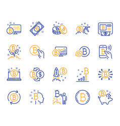 Cryptocurrency line icons set of blockchain vector