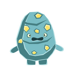 Cute dissatisfied blue rock element with yellow vector