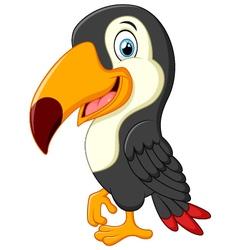 Cute toucan cartoon presenting vector