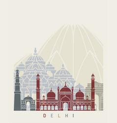 Delhi skyline poster vector