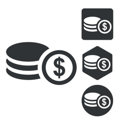 Dollar rouleau icon set monochrome vector image