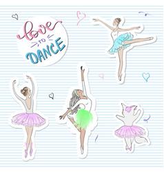 Fashion stickers with ballerinascat slogan print vector