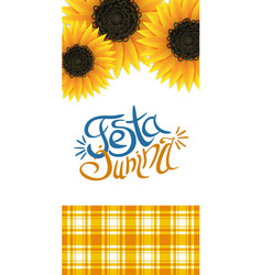 Festa junina flyer with lettering and sunflowers vector