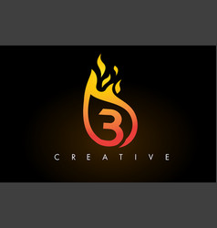 Flame b letter logo design icon with orange vector
