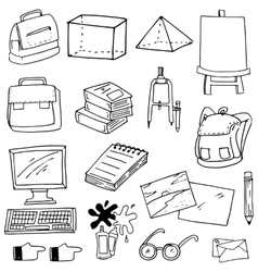 Flat doodle education school supplies vector