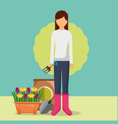 Gardener woman holding fork with potted flowers vector
