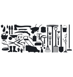 gardening farming tools instruments silhouettes vector image