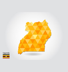 geometric polygonal style map of uganda low poly vector image