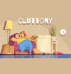 gluttony background vector image