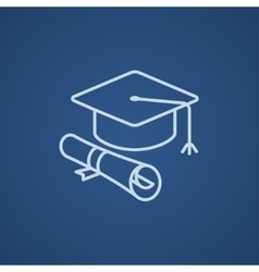 Graduation cap with paper scroll line icon vector image