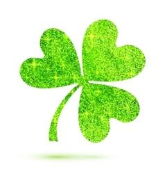 Green shining glitter glamour clover leaf on white vector image vector image