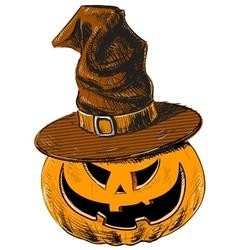 Halloween pumpkin in magic witch hat vector image