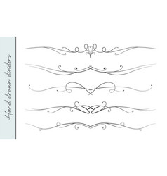 hand drawn elegant flourish text divider set vector image