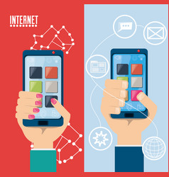 hand with smartphone internet connected vector image vector image