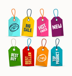 hanging sale tags with ropes - colorful paper vector image