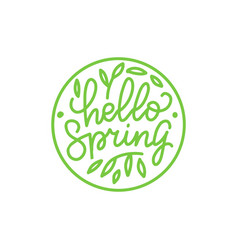 hello spring outlined logo in flat style vector image