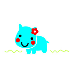 hippo animal cartoon cute vector image