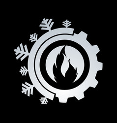 hot and cool with gear color logo design vector image