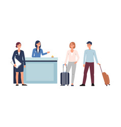 hotel reception lob- cartoon people with vector image