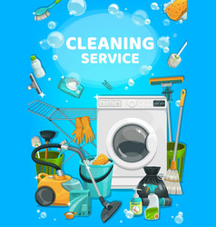 house cleaning service clean home laundry wash vector image