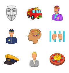 human activity icons set cartoon style vector image