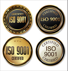 iso 9001 certified golden badge sollection vector image