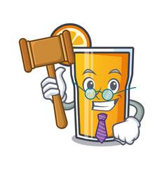 Judge orange juice mascot cartoon vector