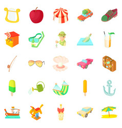 Light hearted holidays icons set cartoon style vector