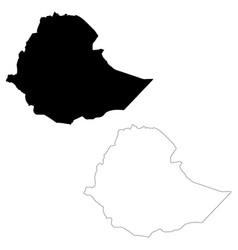 map ethiopia isolated black vector image