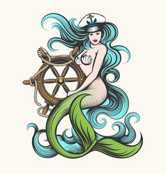 mermaid with steering wheel vector image