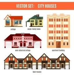 Modern flat buildings set vector image