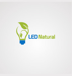 natural bulb logo with green leaf icon element vector image