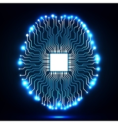 Neon brain Cpu Circuit board vector