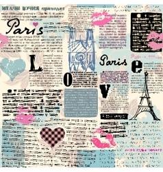 Newspaper Paris with a kisses vector image