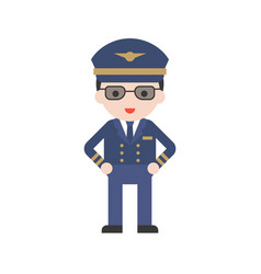 pilot in uniform set profession character of vector image