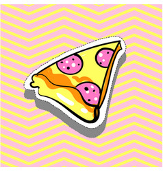 pizza slice fashion patch badge pin sticker pop vector image