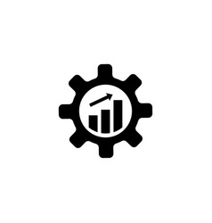 productivity gear cog with growing graph flat vector image