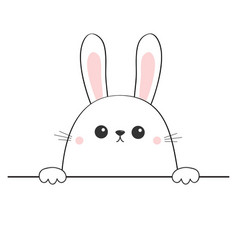 Rabbit happy face head icon hands paw holding vector