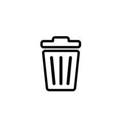 recycle bin line icon in flat style for apps ui vector image