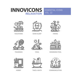 relaxation - modern color single line icon vector image